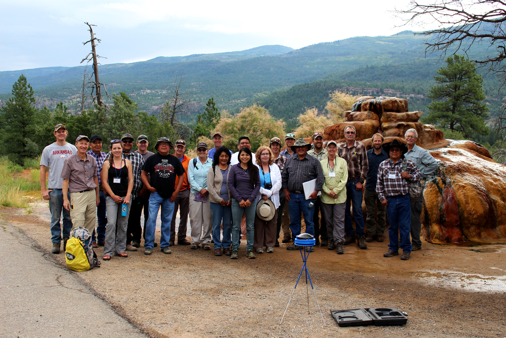 SSI staff with workshop participants at a (carbonate) mound-form spring surveyed during a training held in Durango, Colorado 2015.