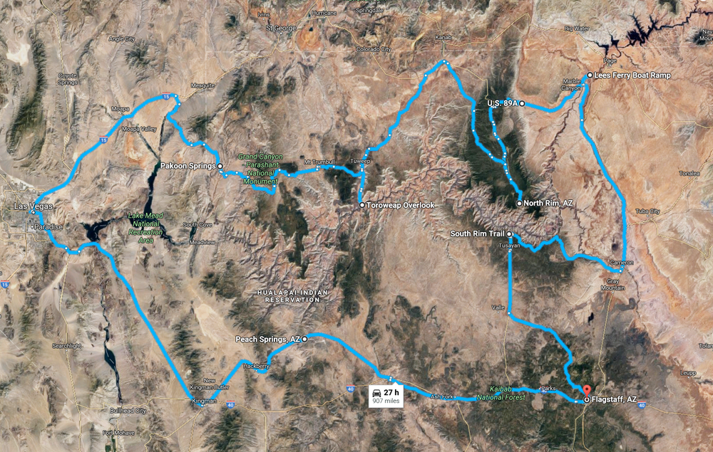 Overview of expeditionary route.