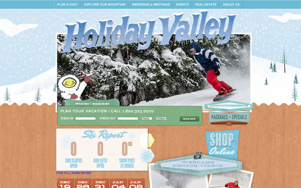 Holiday Valley Homepage - Before