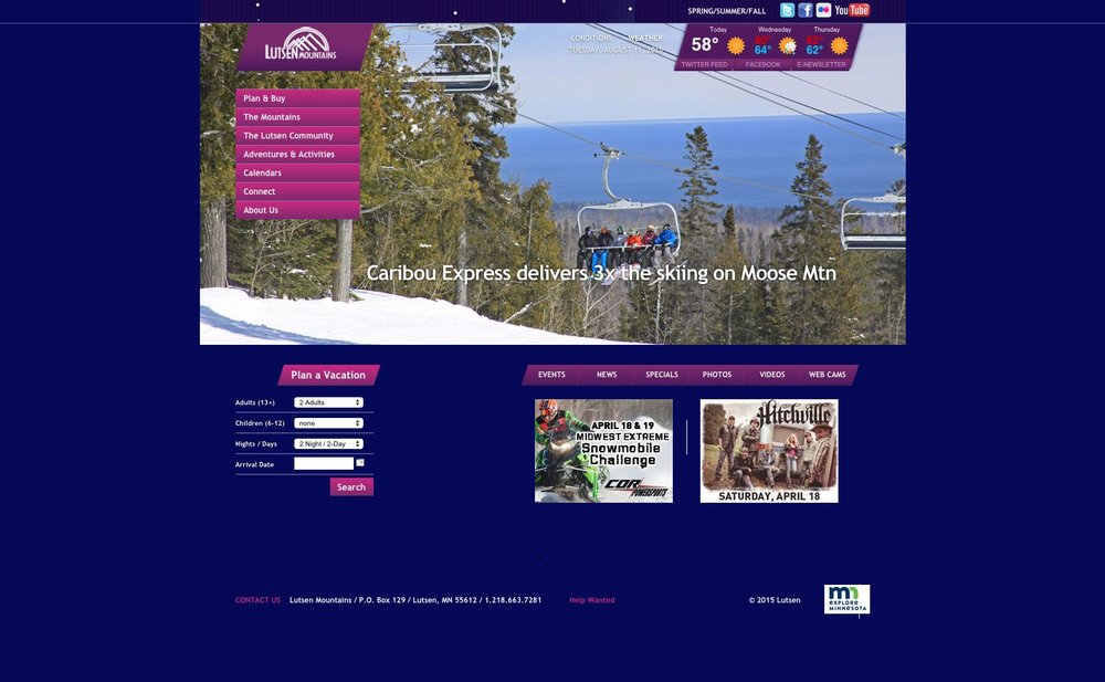Lutsen Homepage - Before