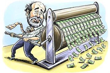 illustration of man printing money
