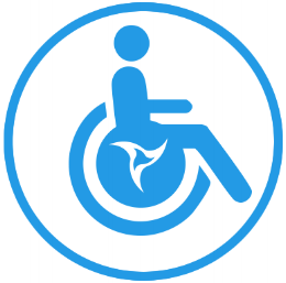 Wheel chair graphic with propeller logo in center