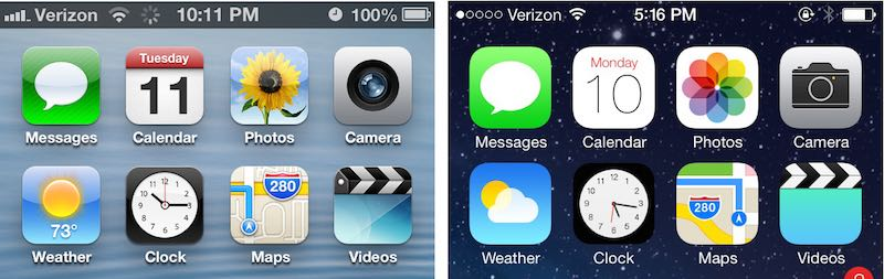 Transition from Apple iOS 6 Skeuomorphic Design to iOS 7 Flat Design in 2013