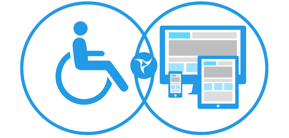 graphic combining icons of people with disabilities with web design