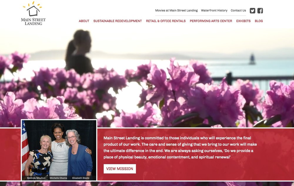 Maint St Landing homepage