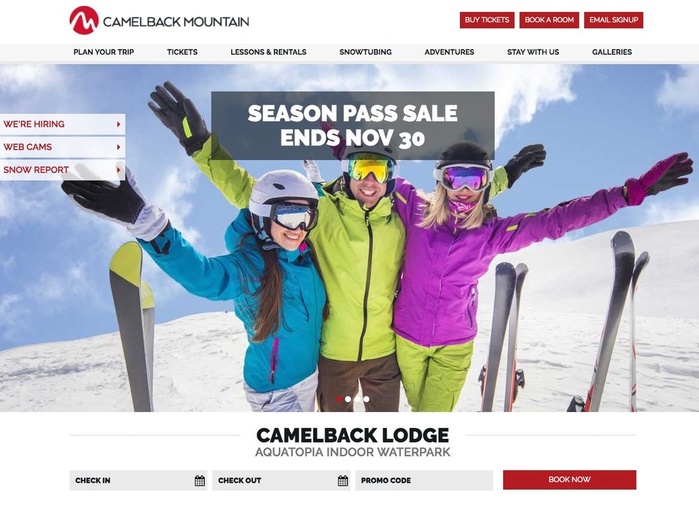 SkiCamelback.com homepage screenshot