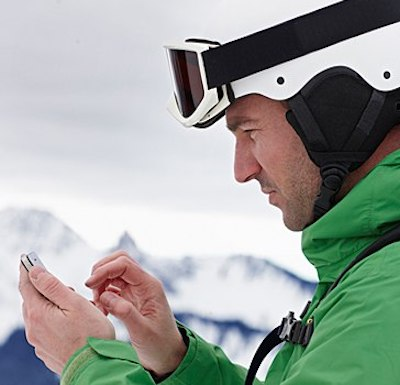 skier using mobile website