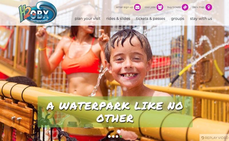 H2OBX Waterpark website homepage