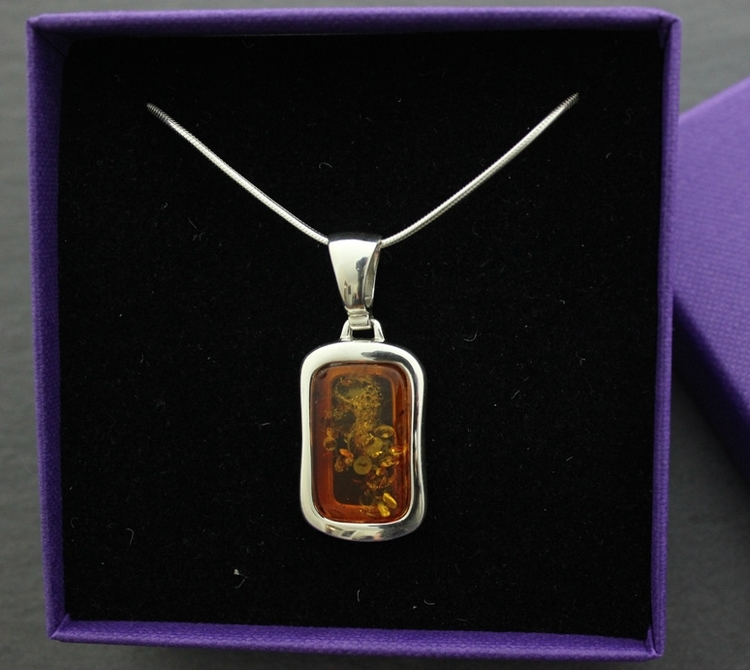 Rectangular amber necklace pretty things square amber pendant with chunky silver 3 resizeg aloadofball Images