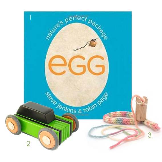 "1. Egg: Nature's Perfect Package: This nonfiction book is perfect for 4- and 5-year-olds; the illustrations are done in actual size, and the information is simple yet fascinating! 2. Tegu Car: This car is actually a kit of magnetic blocks that click together. Your child can build, disassemble, and rebuild again and again! 3. Knitting Tower: An introduction to knitting (without needles), this tool is a great fine motor activity for your child that also builds concentration. The yarn ""snakes"" can be used in a variety of other projects."