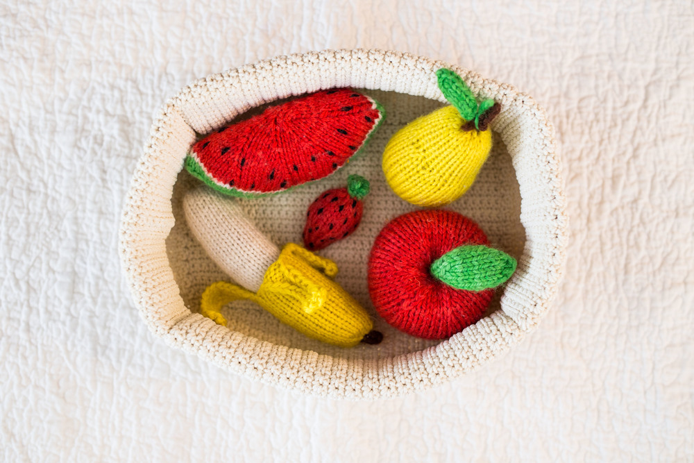The play fruit is part of a larger set that I find to be really well made and tactilely satisfying for kids of all ages. I chose fruits that Wilson loves to eat so that I can start teaching him their names and signs.