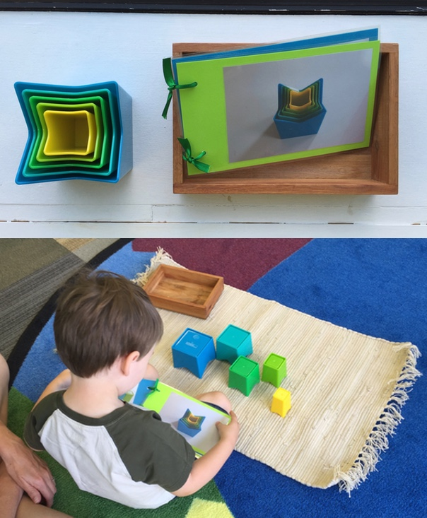 These stacking cups by KidO are a great Sensorial parallel. Adding a booklet of different ways to arrange them from largest to smallest instantly made this more challenging for a 3-year-old in my summer session.