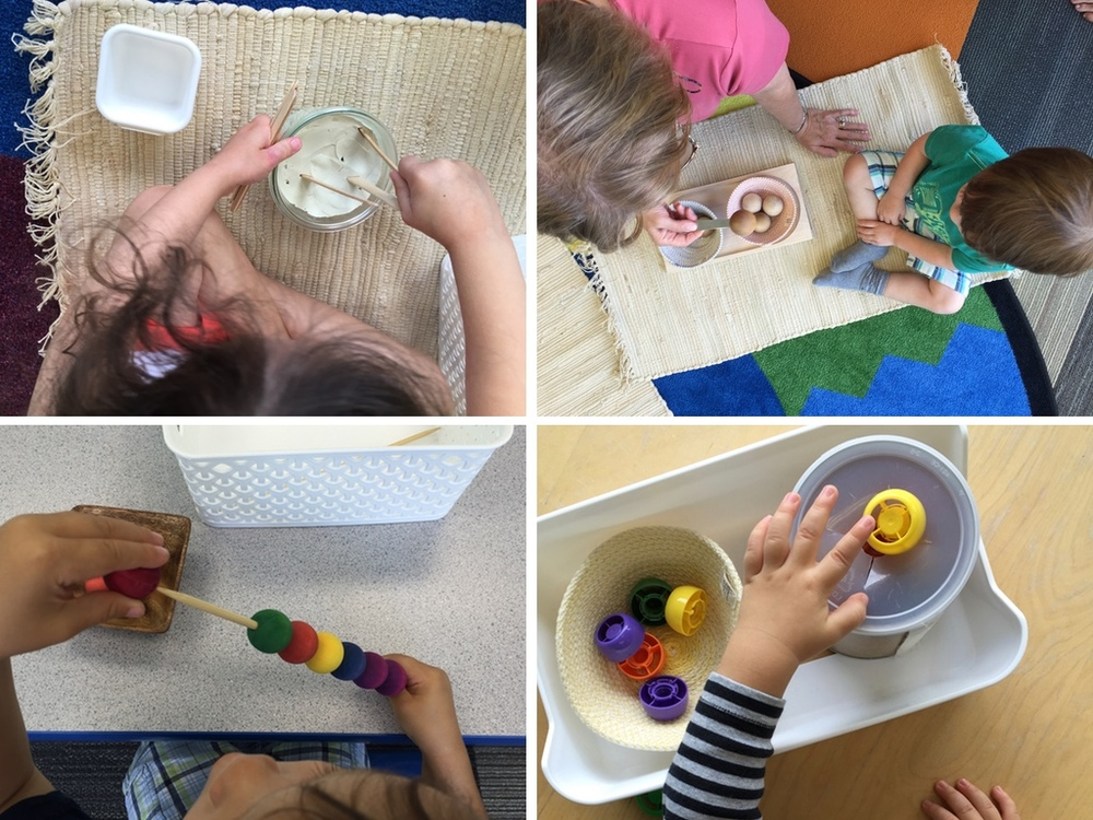 Some Practical Life activities I put together (clockwise from top left): Pushing popsicle sticks into clay, spooning wooden balls, pushing pouch caps into a can, and threaded beads onto a dowel.