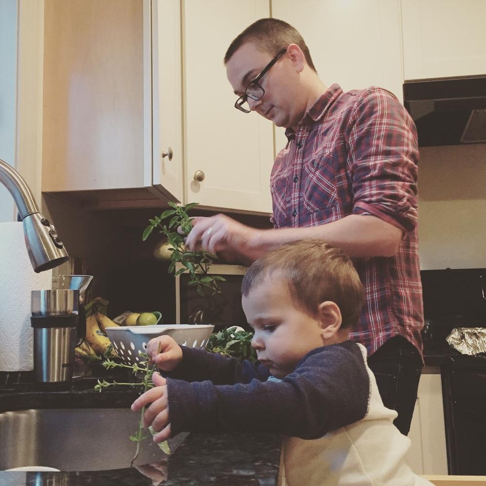 Helping Dad make pesto.