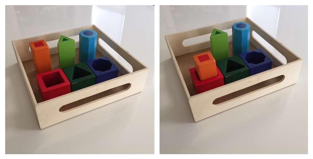 Combine the longest of each solid, and the tallest of each block, and it becomes a simple matching activity (a wonderful visual motor material for an older toddler).