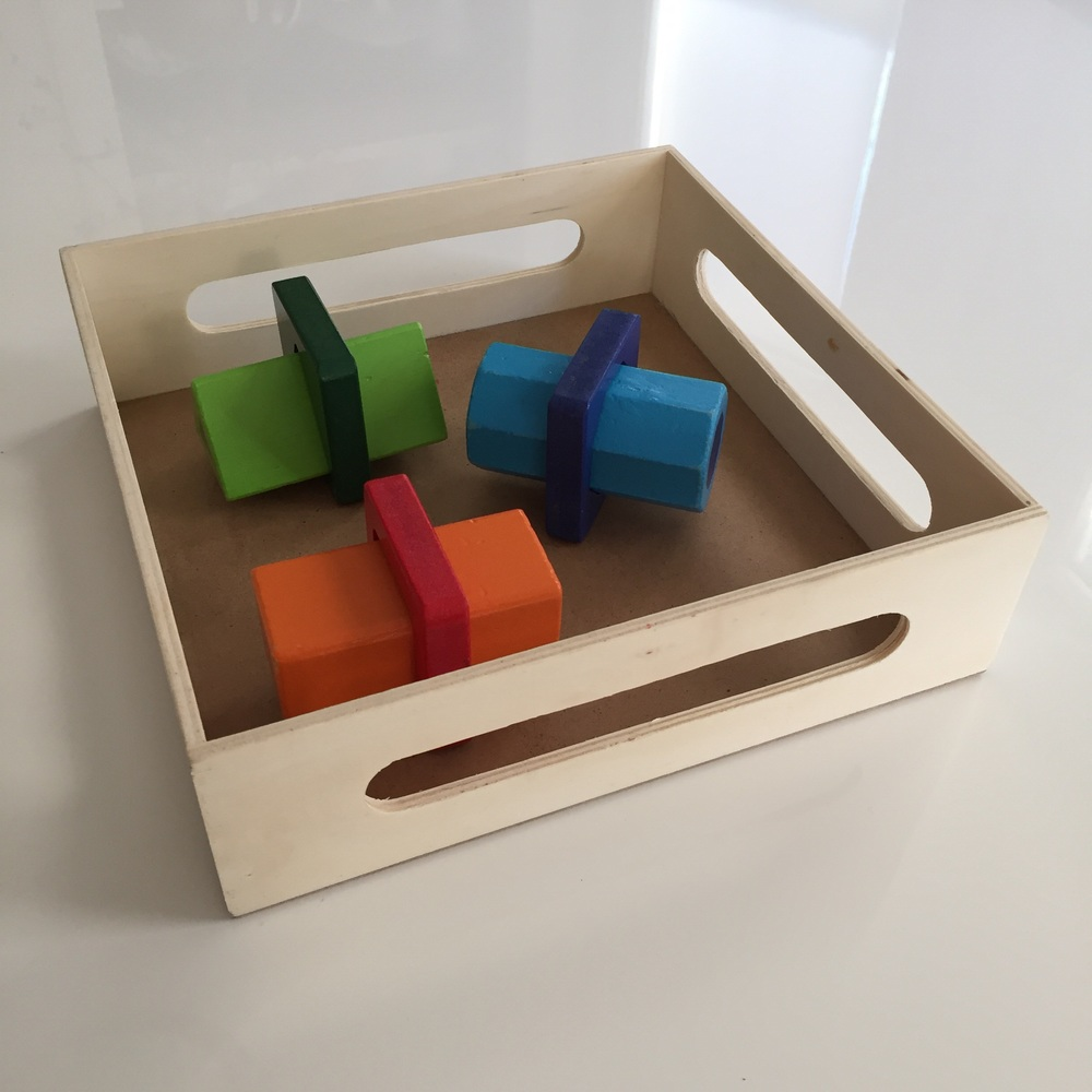 Switch out the tallest blocks for the shortest, and you have yet another kind of visual motor matching activity.