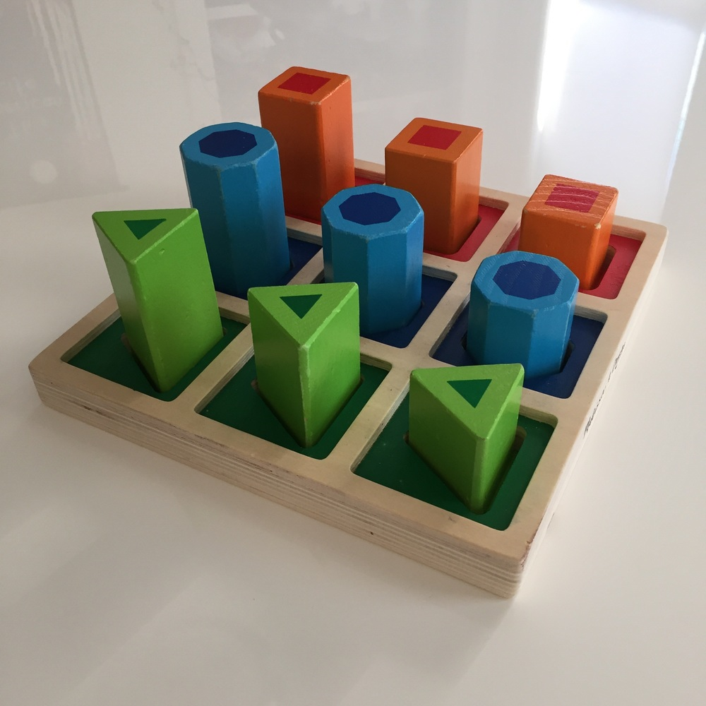 Put the solids back into the base (but leave out the blocks) and it becomes a sorting and grading activity in one.
