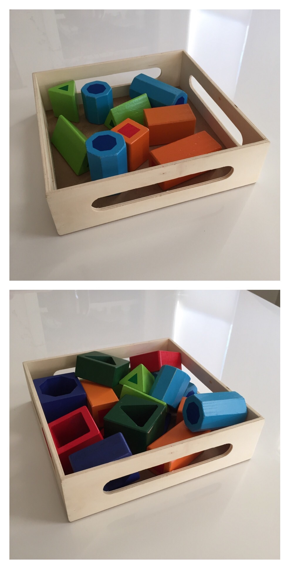 Put some or all of the pieces into a basket or tray and it becomes a really cool set of blocks - completely open ended (and appropriate for a child up to age 5).