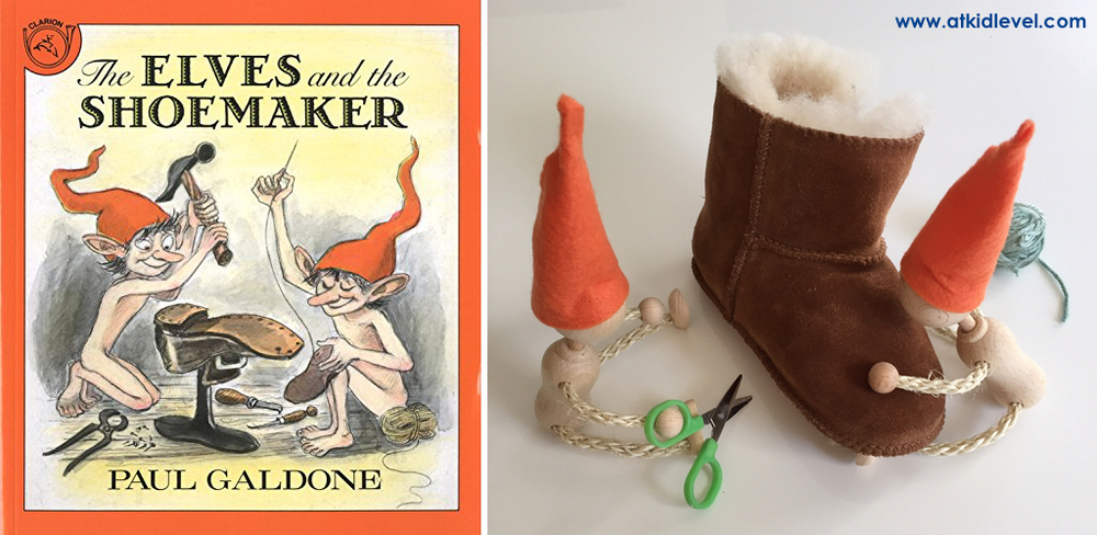 The Elves and the Shoemaker by Paul Galdone is about two tiny (and naked) elves who sneak into a cobbler's shop at night to help him make beautiful shoes for his customers. To thank them for their role in his fortune, the cobbler and his wife make clothing for the elves.