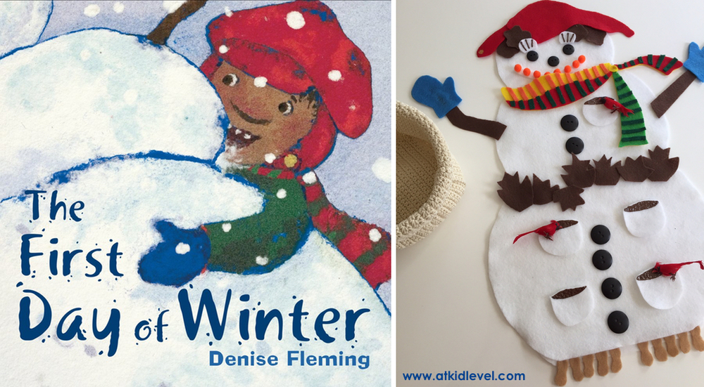 The First Day of Winter is my all-time favorite Denise Fleming book. It's based on The Twelve Days of Christmas, so you can actually sing the words if you want! Over the course of the book, a snowman receives all kinds of gifts (maple leaves, buttons... even salty peanuts) from the child who is building him.
