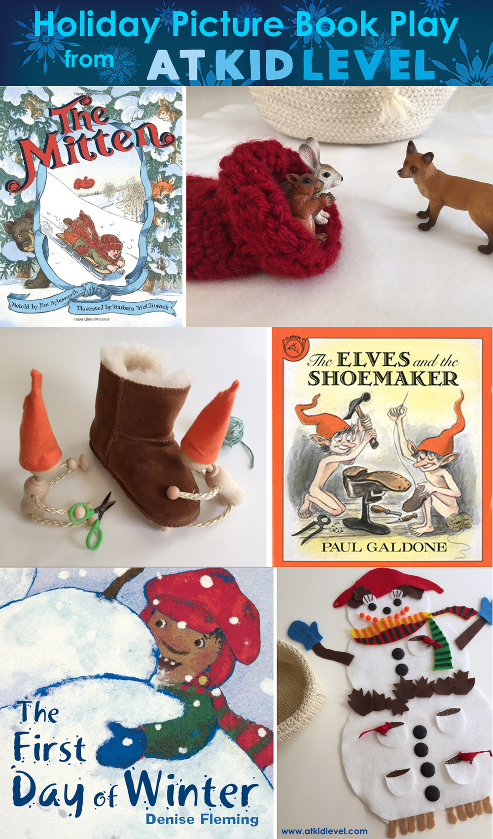 Holiday Picture Book Play from At Kid Level - story retelling activities for young children