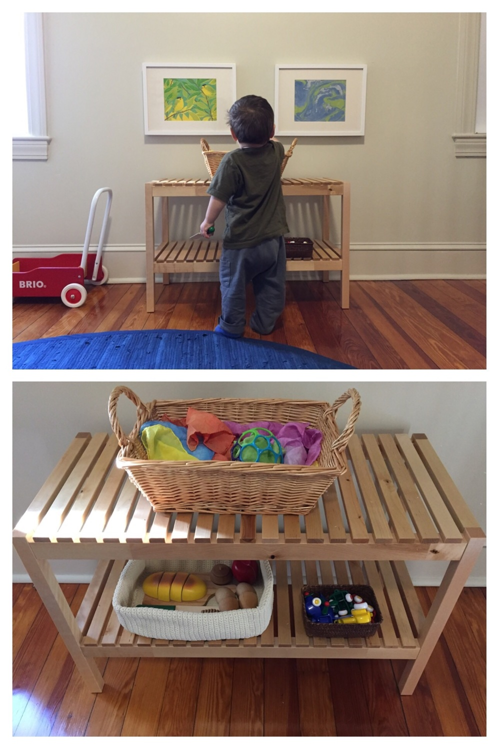 Fun, open-ended materials: play silks and an o-ball, play food, and some vehicles. The shelf is from IKEA.