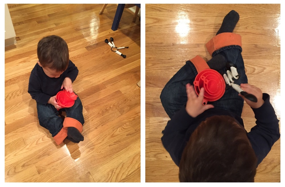 Funnels and measuring spoons - also a huge hit! Especially so once he figured out how to take the spoons off the ring and put them back on again.