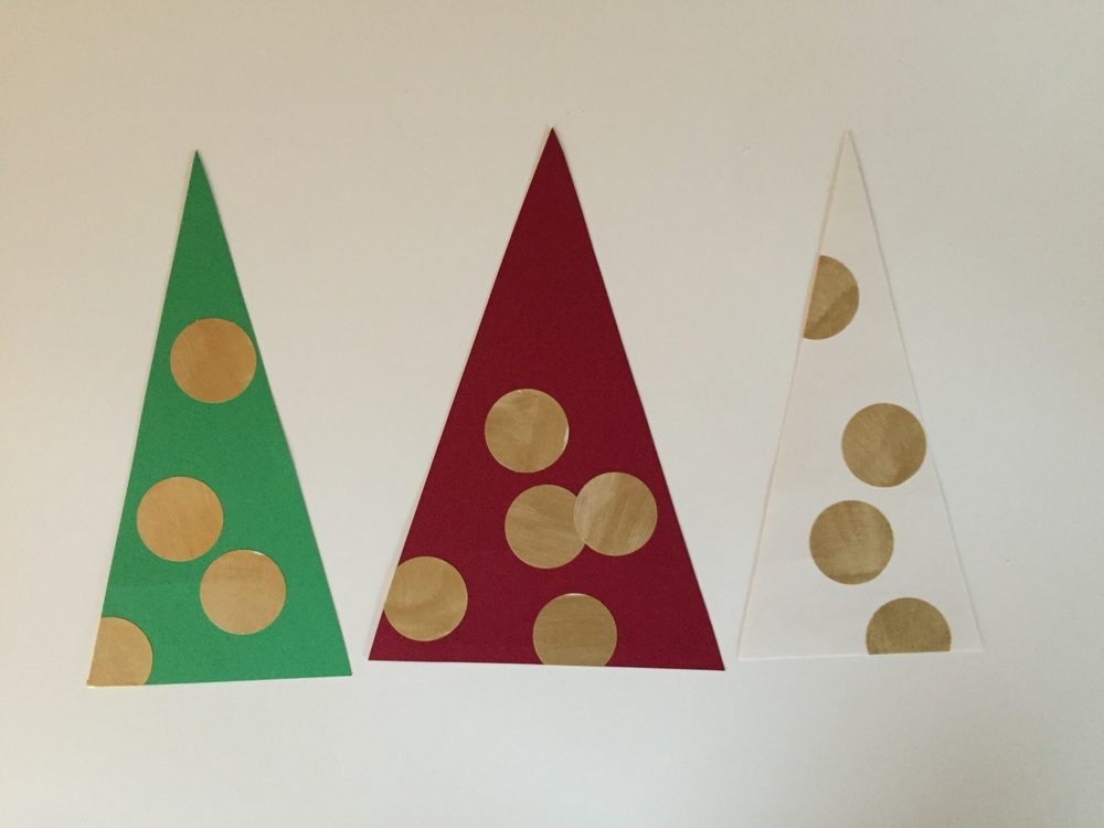 We also made our own holiday cards with pre-cut triangles and gold stickers! Simple, mess-free and beautiful.