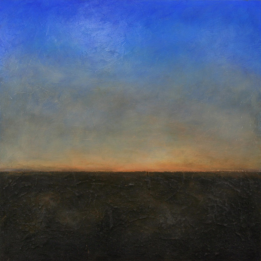 "Luminous Horizon #212 , oil and asphalt on panel, 32"" x 32"""