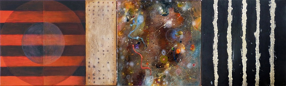 "Disambiguated Landscape #1 , mixed media on canvas and panel with epoxy resin, 12"" x 40.5"""