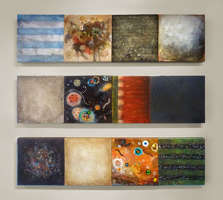 "The Mathematics of Chaos #4,  mixed media on canvas & panel, 12"" x 48""   Beyond the Nightlife,  mixed media on canvas & panel, 12"" x 48""   The Mathematics of Chaos #3,  mixed media on canvas & panel, 12"" x 48"""