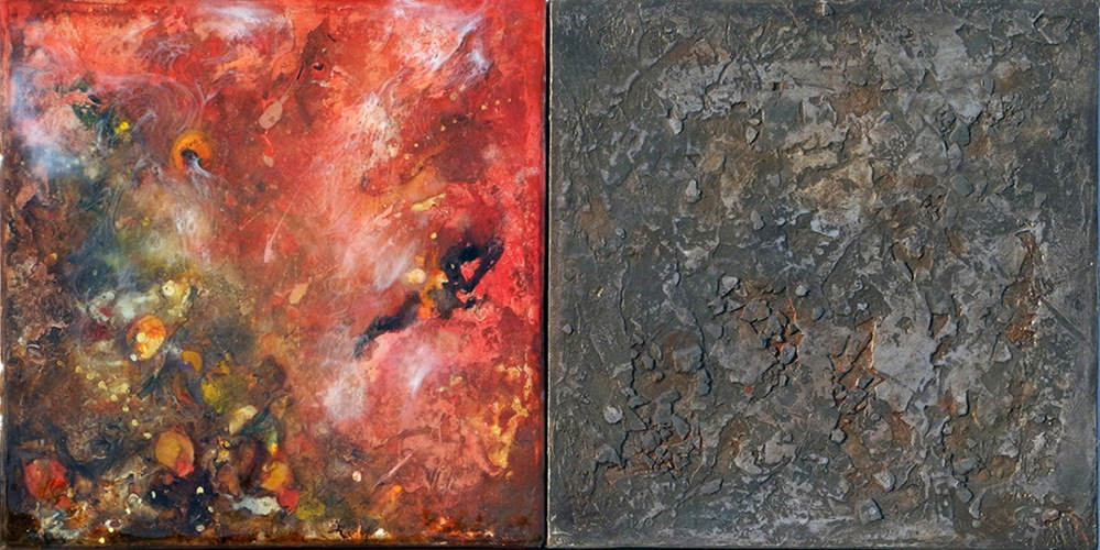 "Red Landscape,  mixed media on canvas and panel with epoxy resin, 12"" x 24"""