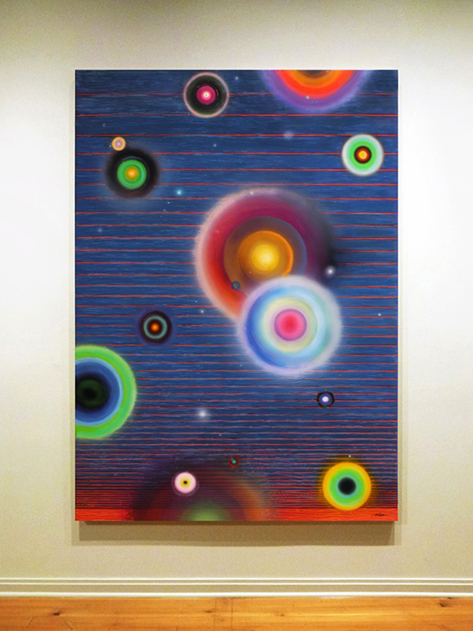 "Chromesthesia,  mixed media on panel with epoxy resin, 84"" x 60"""