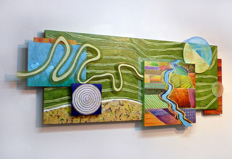 "Waterways #1 , mixed media on panel, 30"" x 72"""