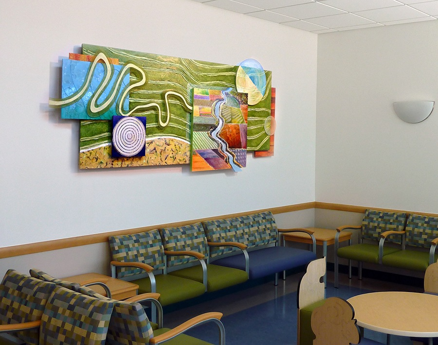 "Waterways , 2011 30 x 72"" , mixed media on panel, Madera Children's Hospital, Madera, CA  All artwork installed in this area of the hospital is part of a theme of water cycles. My design was inspired by the central valley landscape and waterways. The multiple panels depict the aerial landscape surrounding Madera. Patterns include rivers, sloughs, agricultural fields, marshes, canals, and roadways."