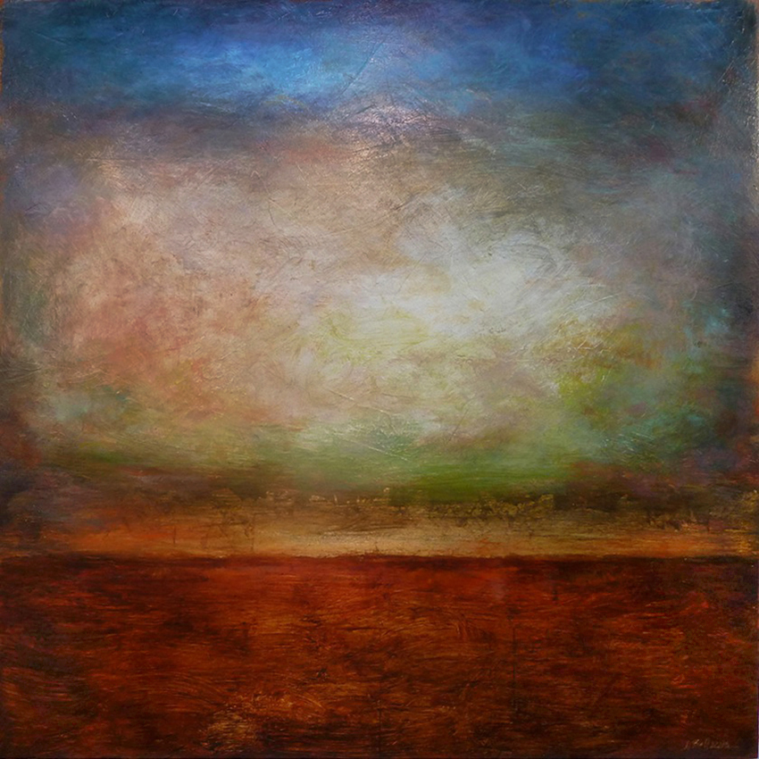 "Luminous Horizon #219 , oil and gold leaf on panel, 32"" x 32"""