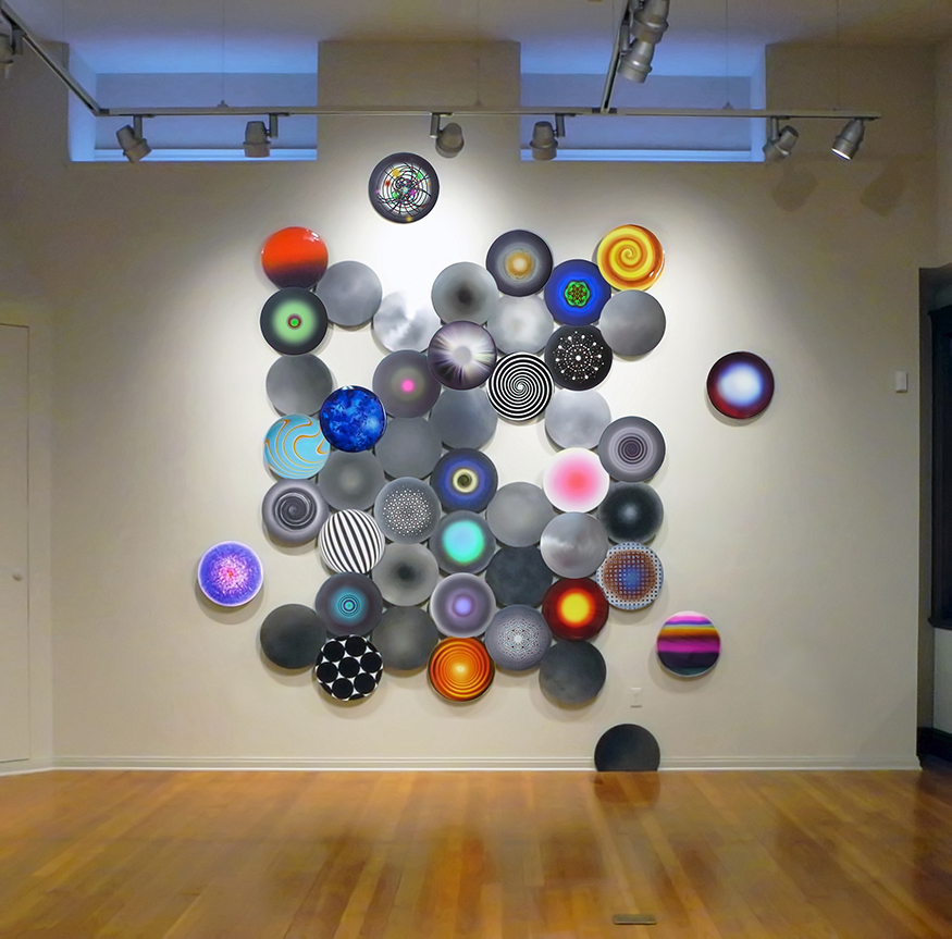"Disconnecting the Dots #1,  mixed media on 16"" dia. aluminum disks, 12' x 12'"