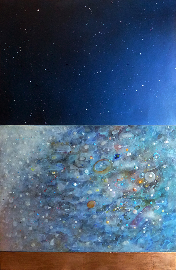 "Blue Space , mixed media on panel, 43"" x 28"""