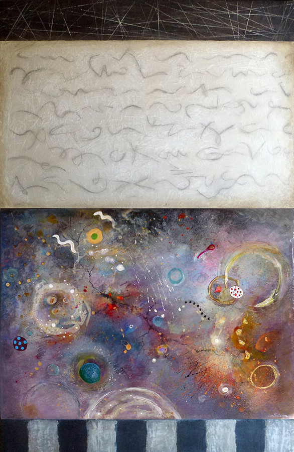 "Writing on Space , mixed media on panel, 43"" x 28"""