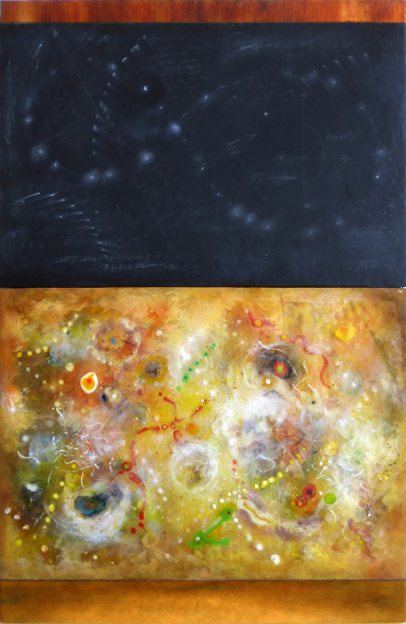 "Black & Yellow Space , mixed media on panel, 43"" x 28"""