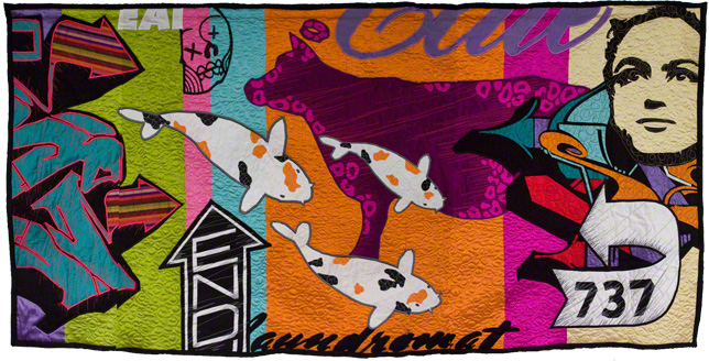 "SoMa (Holy Cow!), 36"" x 72"", Silk and Cotton Quilt, ©2011"