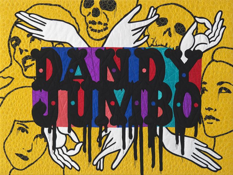 "Dandy Jumbo, Silk and Cotton Quilt, 30"" x 40"" ©2016"