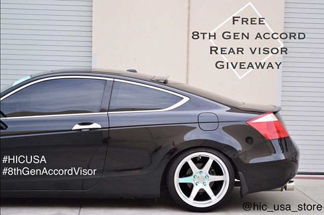 Free 8th Gen Accord Rear Visor Giveaway  How to enter ?  1. Follow us on IG @hic_usa_store  2. Repost this picture on your IG account  3. Use #HICUSA and #8thgenaccord  4. Tag a friend  5. No private account  6. Winner will announce on 10/23  #hondaaccord #8thgenaccord #accord #rearvisor #rearroofvisor #giveaway