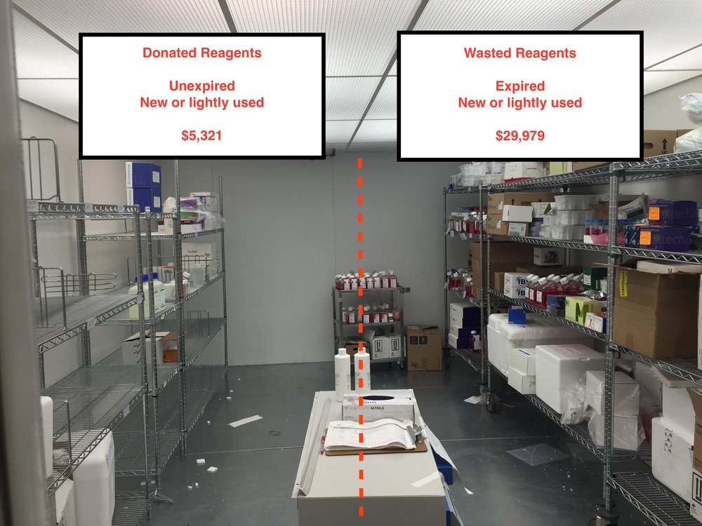 Fig. 1    This is a cold room where scientists store reagents that must be refrigerated. A cold room this size is shared by several laboratories and represents just one of many in the building.