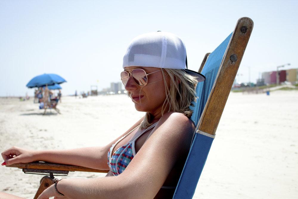 Hailey rocking the Beard On FlexFit Hat by Pacific Headwear at Galveston Beach.