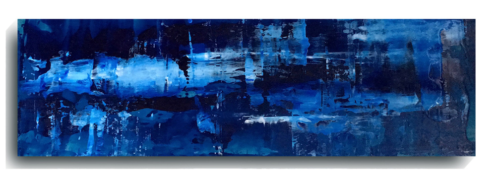 Rorschach     Panoramic 14,  2016, Acrylic on wood panel, 12 x 36 inches, SOLD