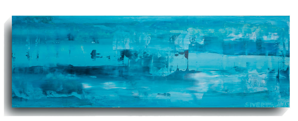 Rorschach     Panoramic 02   , 2015, Acrylic on wood panel, 12 x 36 inches, SOLD