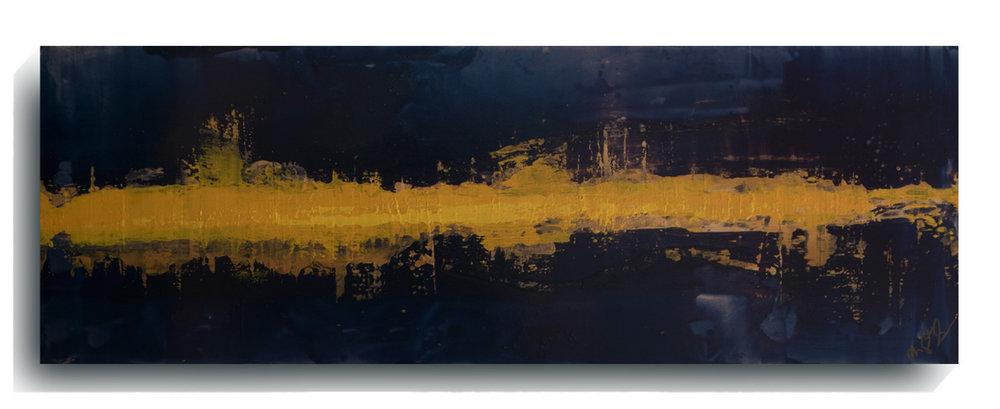 Beam      Panoramic      06 - Paris  , 2016, Acrylic on wood panel, 12 x 36 inches, $495