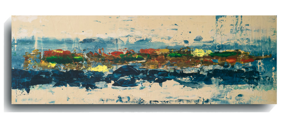 Rorschach     Panoramic    15 - Manarola,   2016, Acrylic on wood panel, 12 x 36 inches, SOLD -  AVAILABLE FOR PRINTS     Contact Mark Sivertsen