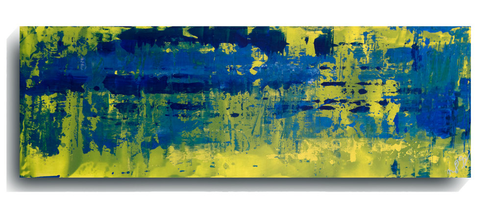 Rorschach     Panoramic 30,    2015, Acrylic on wood panel, 12 x 36 inches, SOLD